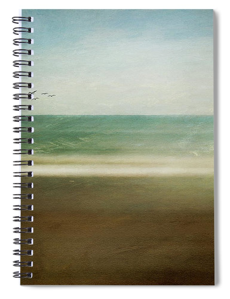 Sea Spiral Notebook featuring the digital art Caress of Sea Spray by Linda Lee Hall