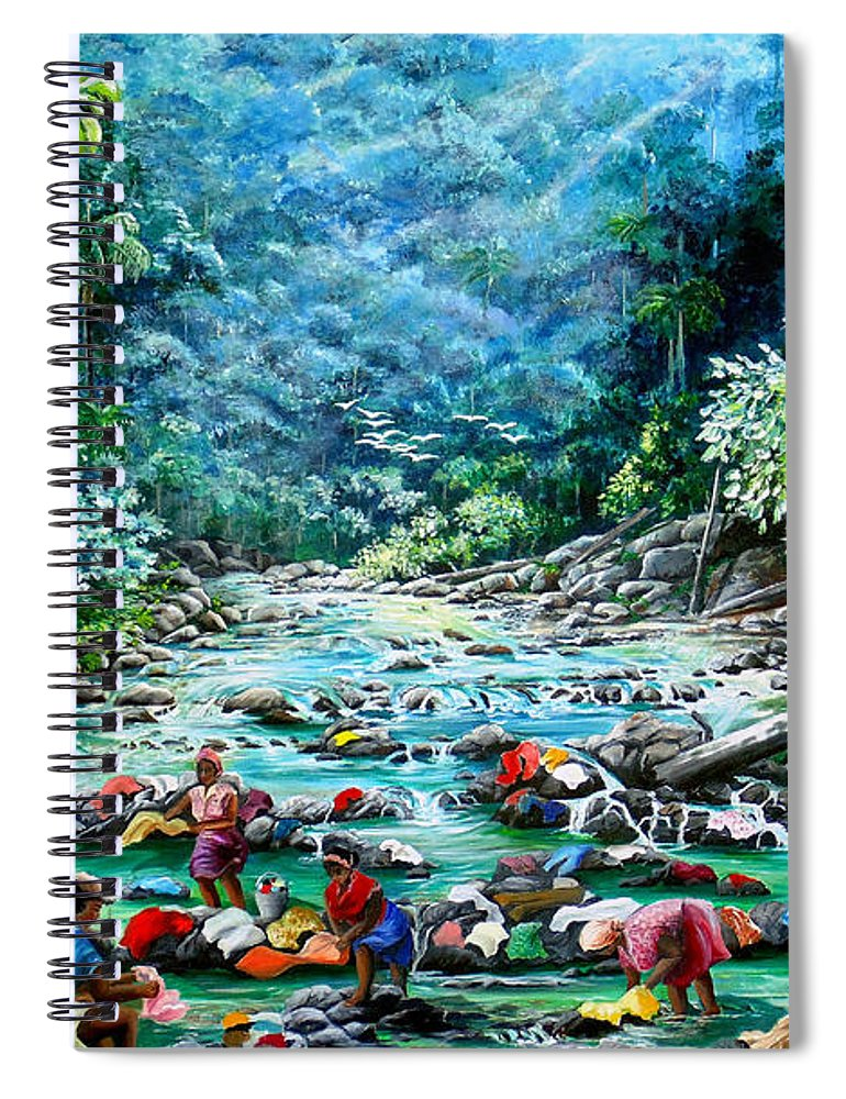 Land Scape Painting River Painting Mountain Painting Rain Forest Painting Washerwomen Painting Laundry Painting Caribbean Painting Tropical Painting Village Washer Women At A Mountain River In Trinidad And Tobago Spiral Notebook featuring the painting Caribbean Wash Day by Karin Dawn Kelshall- Best