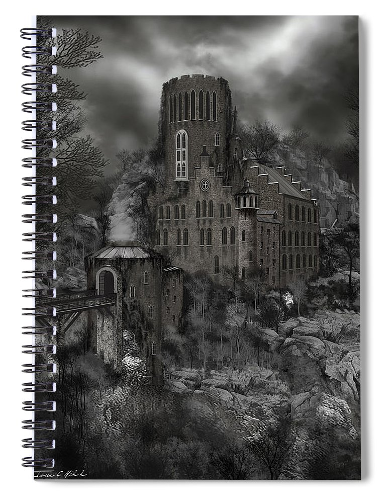 Castle Spiral Notebook featuring the painting Casa Los Diavla by James Christopher Hill
