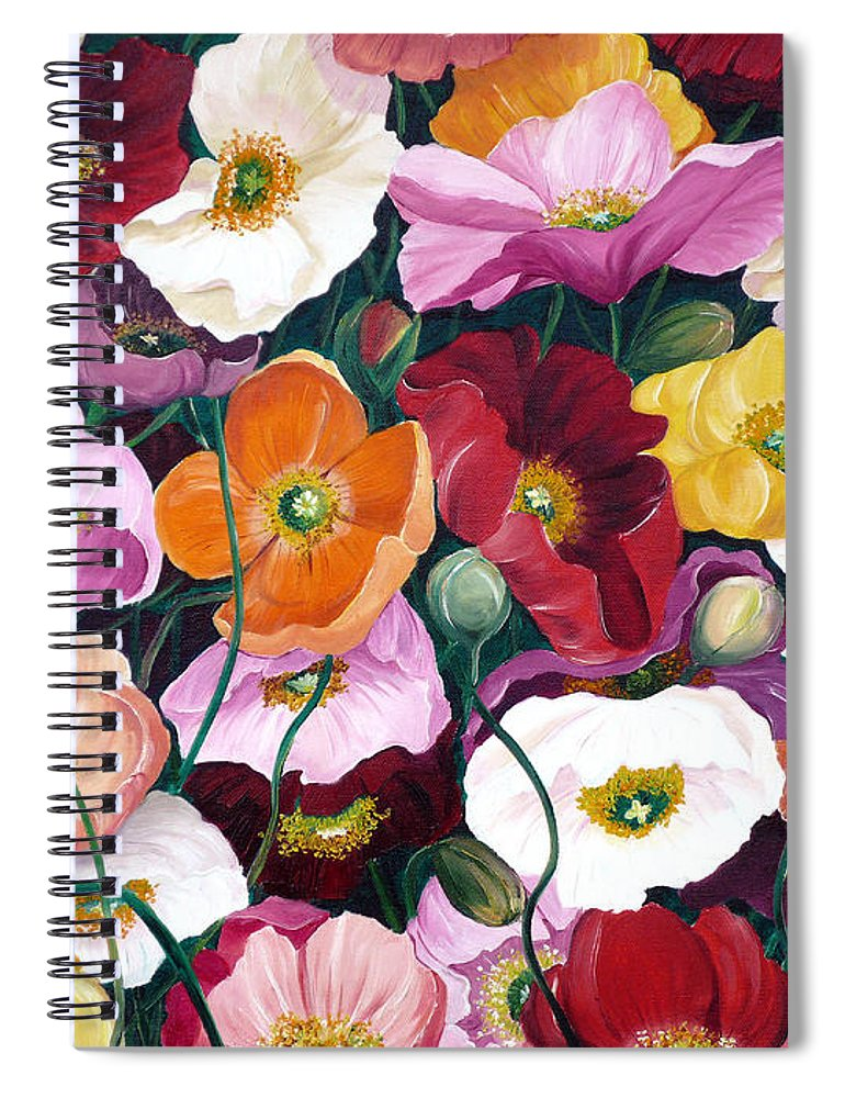 Flower Painting Floral Painting Poppy Painting Icelandic Poppies Painting Botanical Painting Original Oil Paintings Greeting Card Painting Spiral Notebook featuring the painting Cascade Of Poppies by Karin Dawn Kelshall- Best