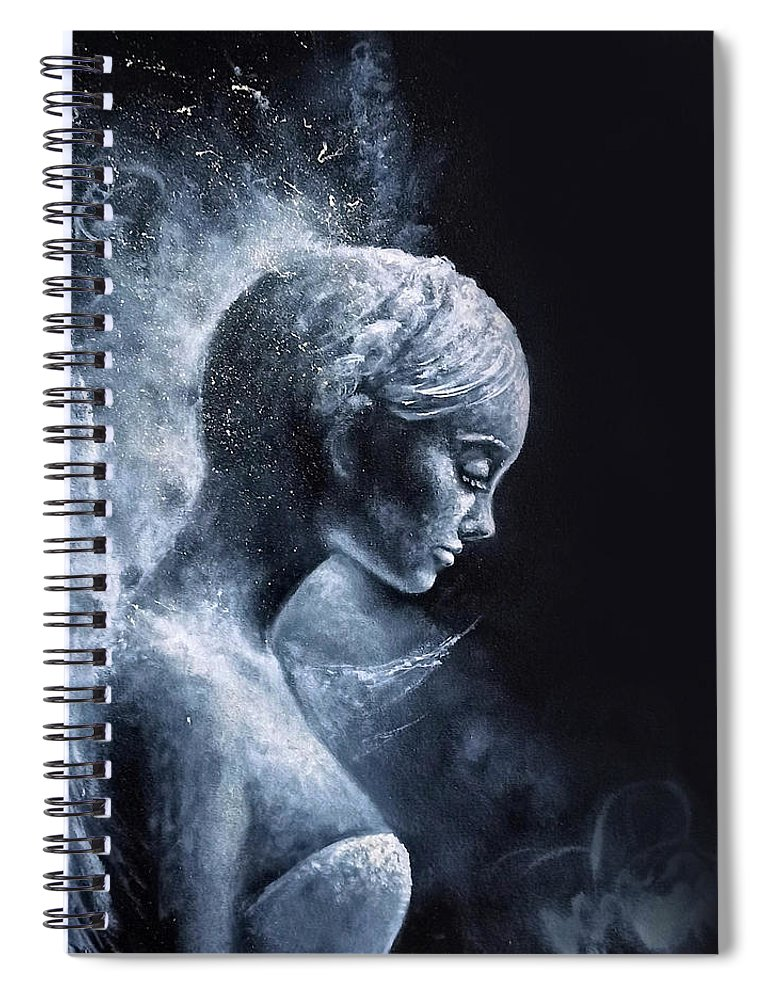 Angel Spiral Notebook featuring the painting Angel Black and White by Natalja Picugina