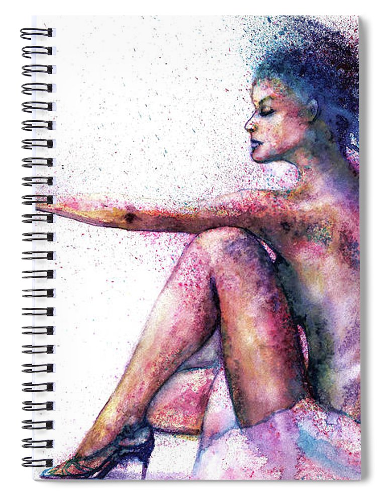 Woman Spiral Notebook featuring the painting Cat original oil painting by Natalja Picugina