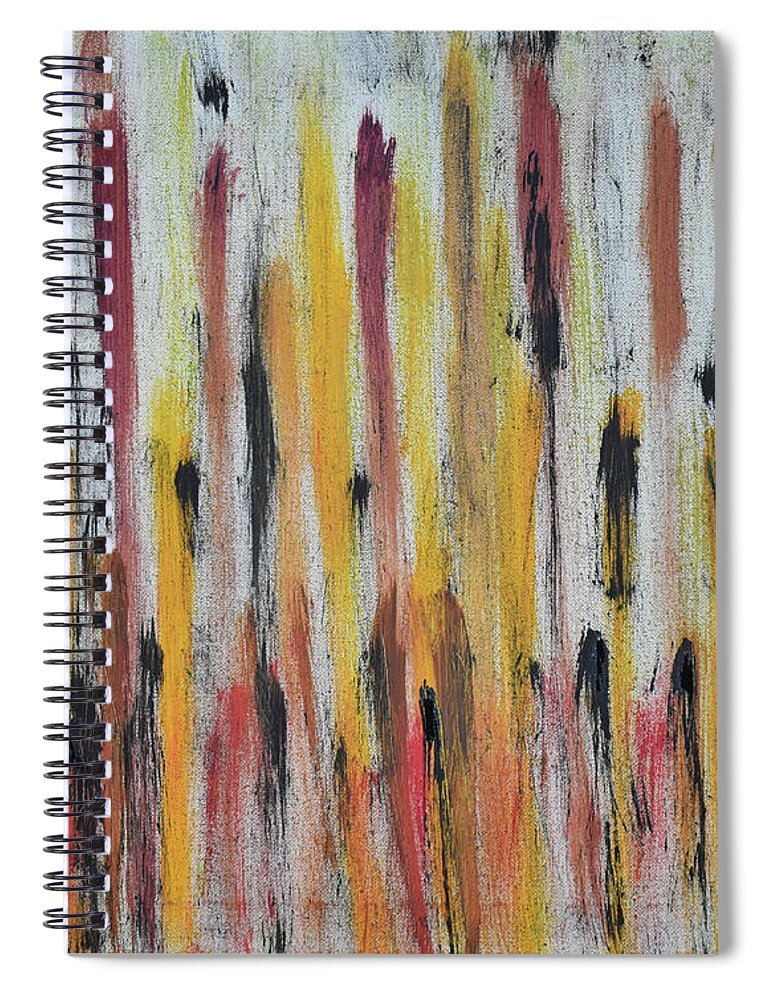 Red Spiral Notebook featuring the painting Cattails at Sunset by Pam Roth O'Mara