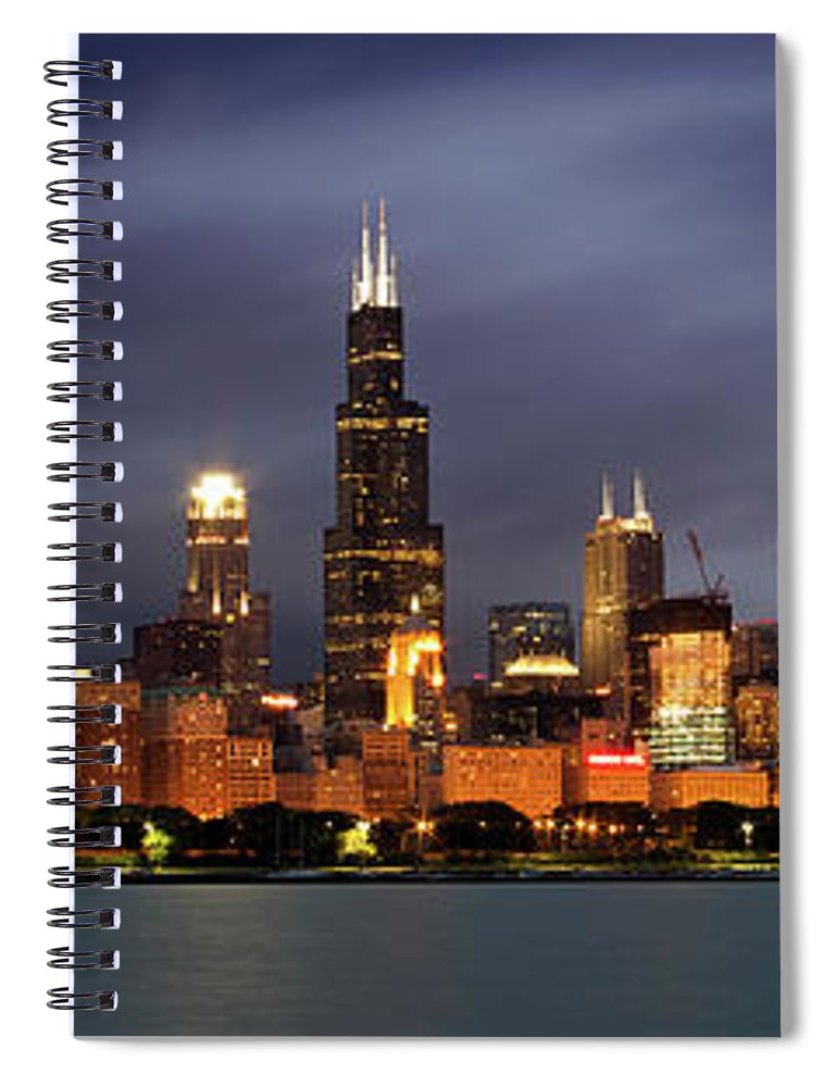 3scape Spiral Notebook featuring the photograph Chicago Skyline at Night Color Panoramic by Adam Romanowicz