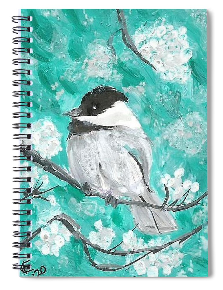 Chickadee Painting Spiral Notebook featuring the painting Chickadee by Monica Resinger