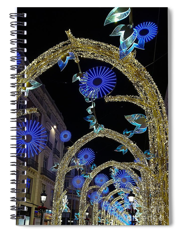 Christmas Spiral Notebook featuring the photograph Christmas lights arches, Malaga 2019 by Paul Boizot