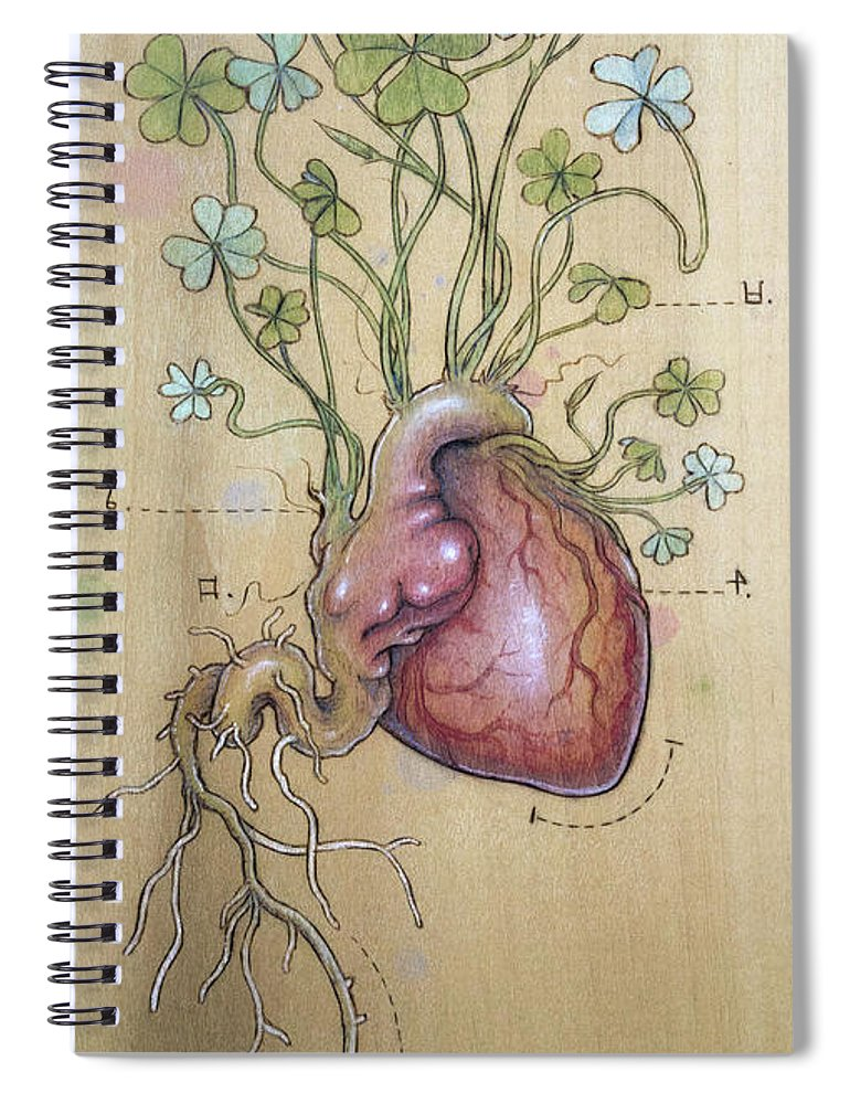 Clover Spiral Notebook featuring the pyrography Clover Heart by Fay Helfer