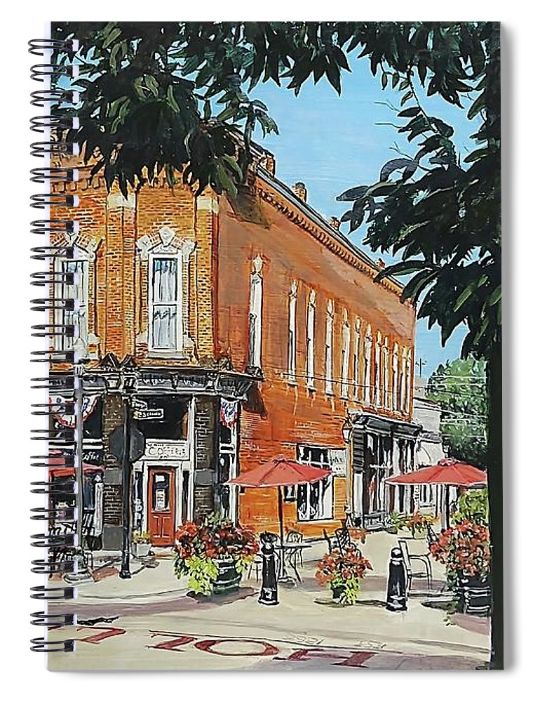 Holly Michigan Spiral Notebook featuring the painting Coffee On The Corner by William Brody