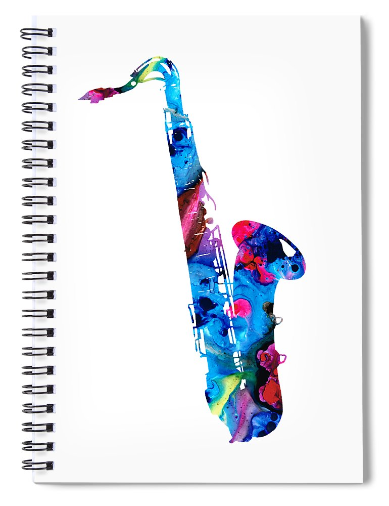 Saxophone Spiral Notebook featuring the painting Colorful Saxophone 2 by Sharon Cummings by Sharon Cummings