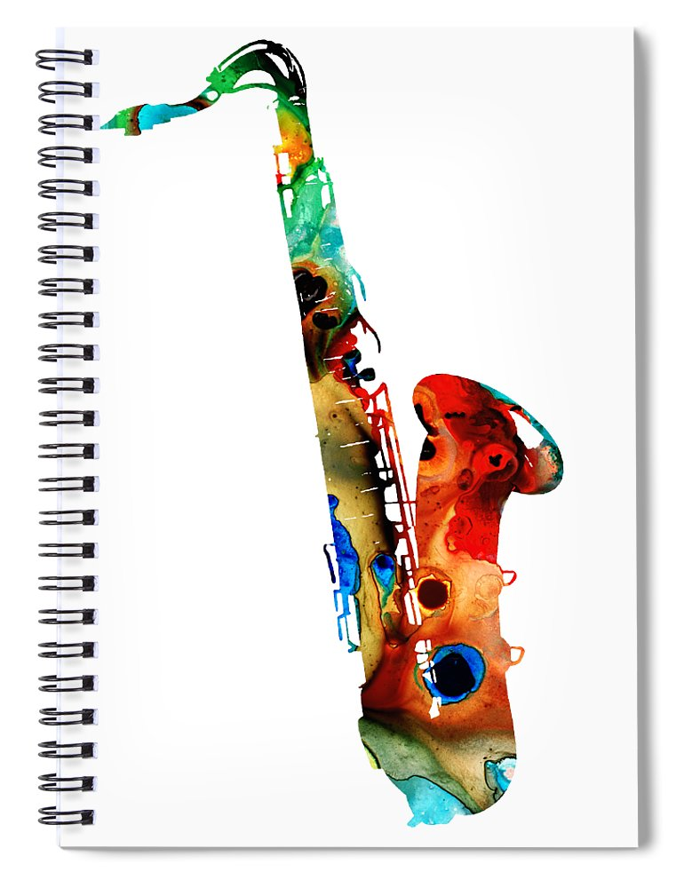 Saxophone Spiral Notebook featuring the painting Colorful Saxophone by Sharon Cummings by Sharon Cummings