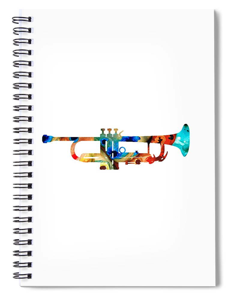 Trumpet Spiral Notebook featuring the painting Colorful Trumpet Art By Sharon Cummings by Sharon Cummings