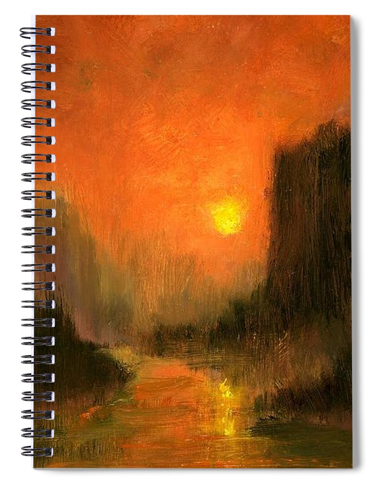 Miniatures Oil Paintings Spiral Notebook featuring the painting Columbia Gorge Nocturn by Jim Gola