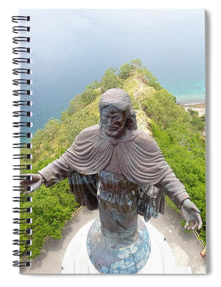 Adventure Spiral Notebook featuring the photograph Cristo Rei of Dili statue of Jesus by Brthrjhn2099