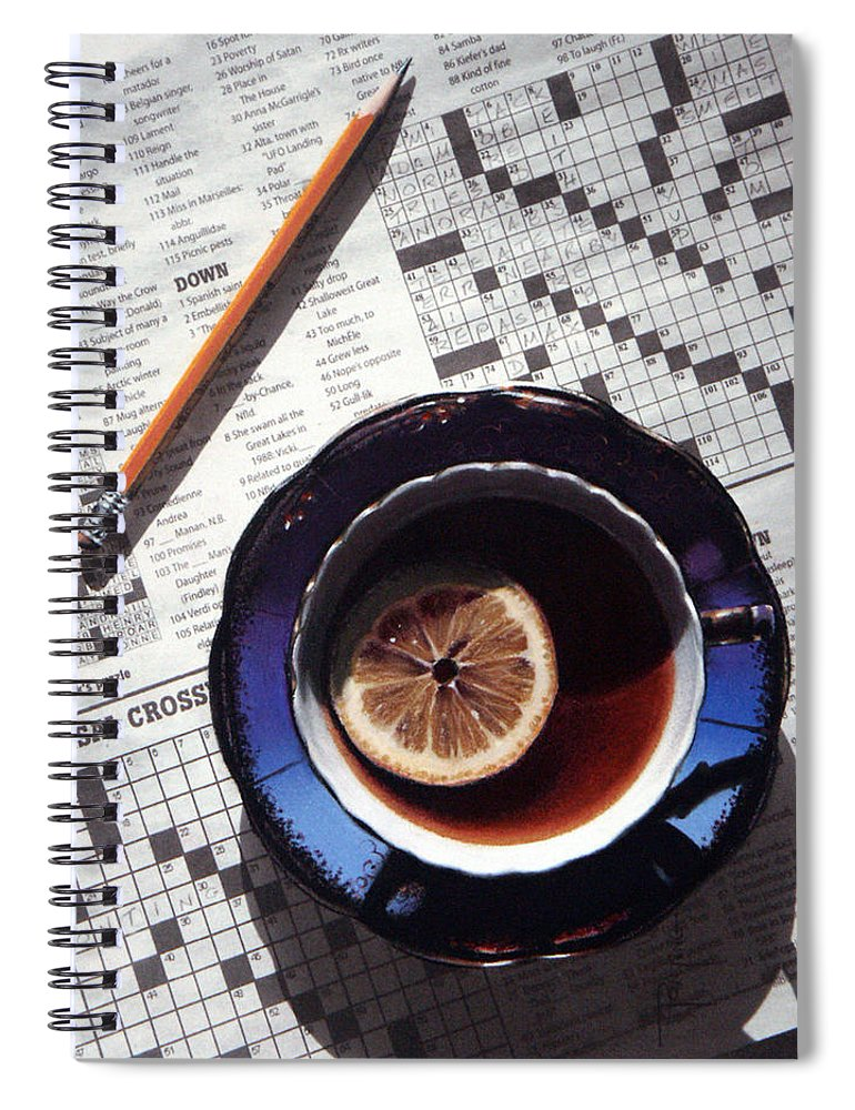 Still Life Spiral Notebook featuring the painting Crossword by Dianna Ponting