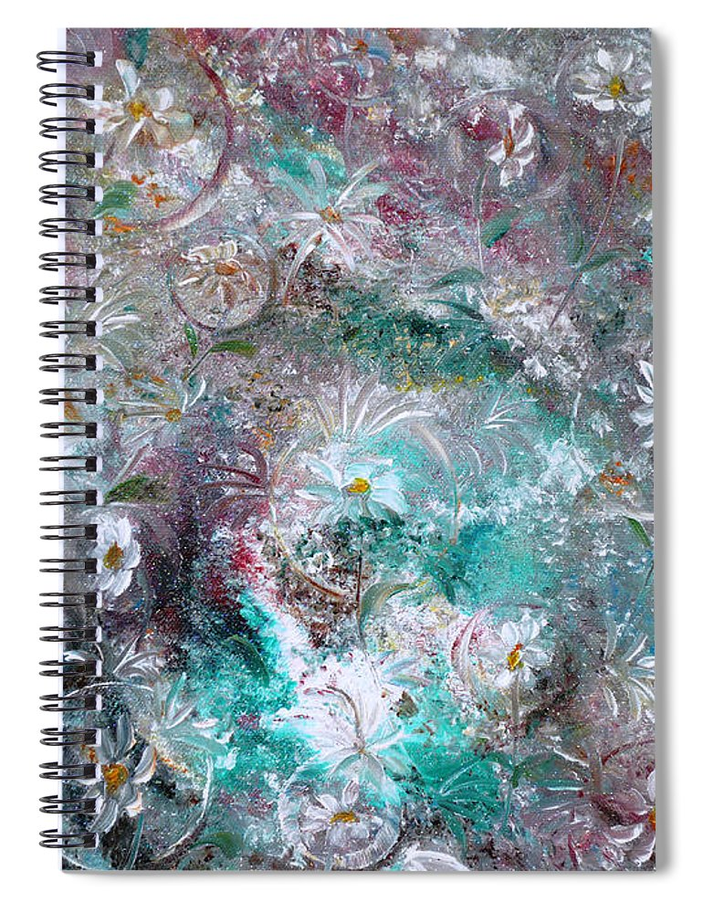 Original Flower Abstract Painting Spiral Notebook featuring the painting Daisy Dreamz by Karin Dawn Kelshall- Best