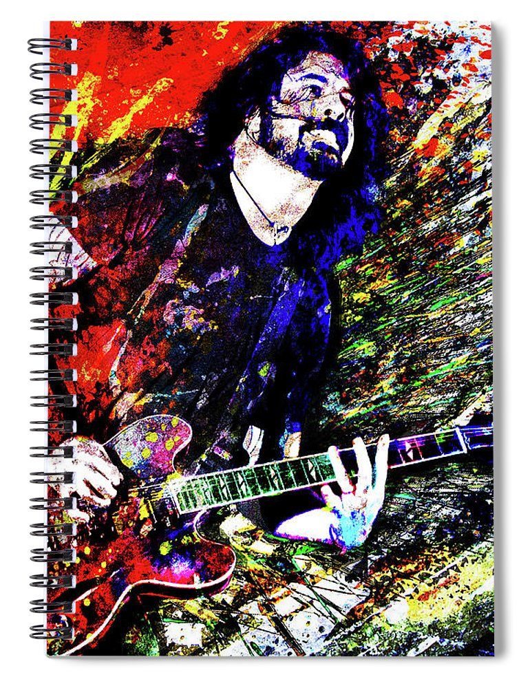 Dave Grohl Spiral Notebook featuring the mixed media Dave Grohl Art by Ryan Rock Artist
