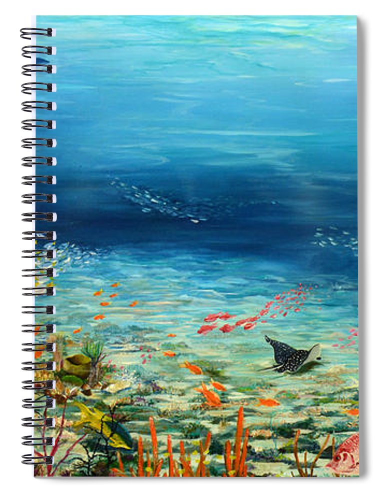 Ocean Painting Undersea Painting Coral Reef Painting Caribbean Painting Calypso Reef Painting Undersea Fishes Coral Reef Blue Sea Stingray Painting Tropical Reef Painting Tropical Painting Spiral Notebook featuring the painting Deep Blue Dreaming by Karin Dawn Kelshall- Best