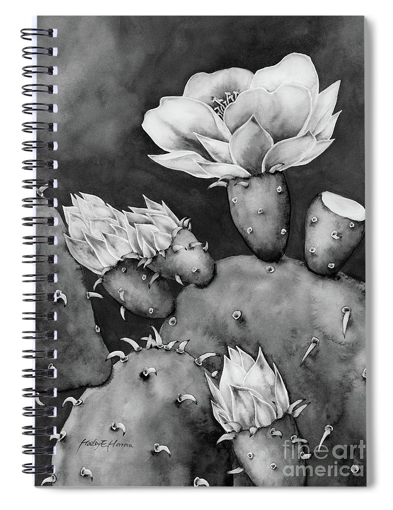 Cactus Spiral Notebook featuring the painting Desert Bloom in Black and White by Hailey E Herrera