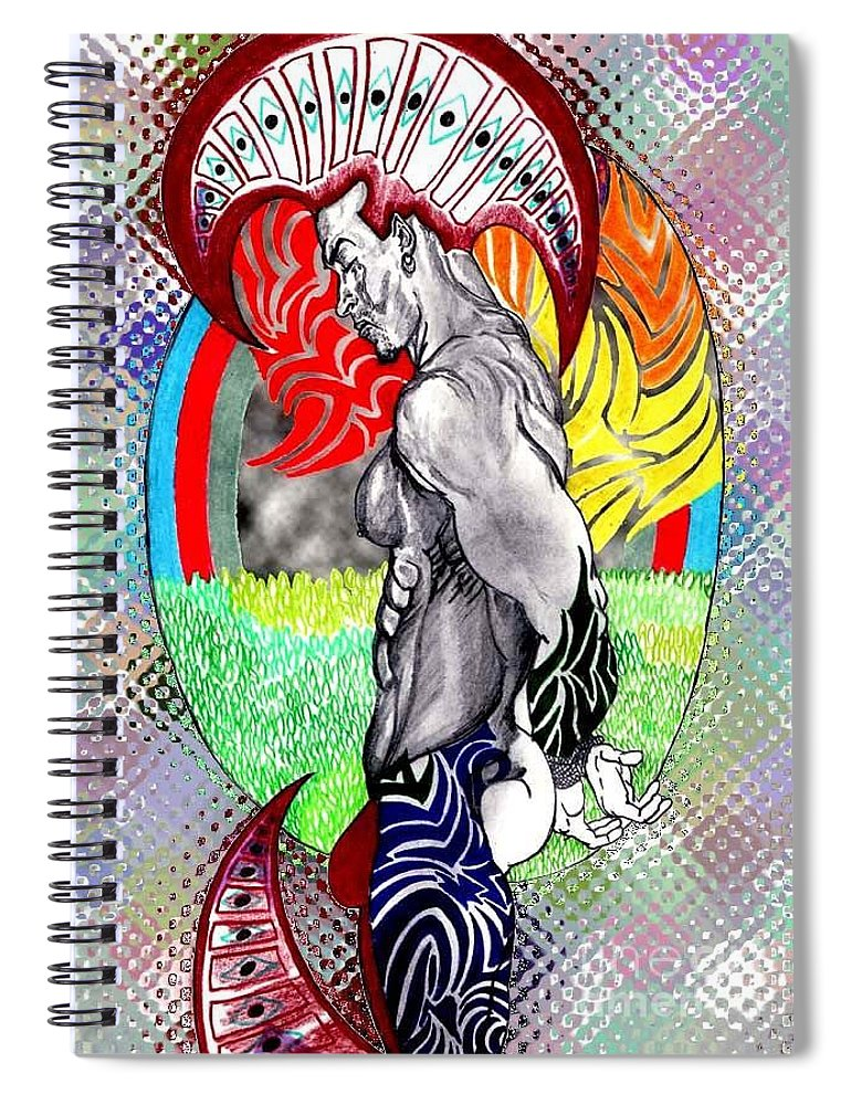 Male Spiral Notebook featuring the drawing Don't Take My Mind On A Trip-jan. 23, 2007 by Antonio Tonyboy Garrett