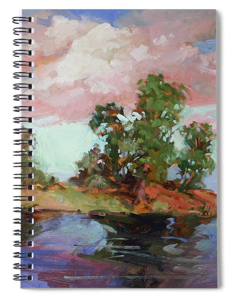 Plein Air Paintings Spiral Notebook featuring the painting End of the Cottonwoods by Betty Jean Billups