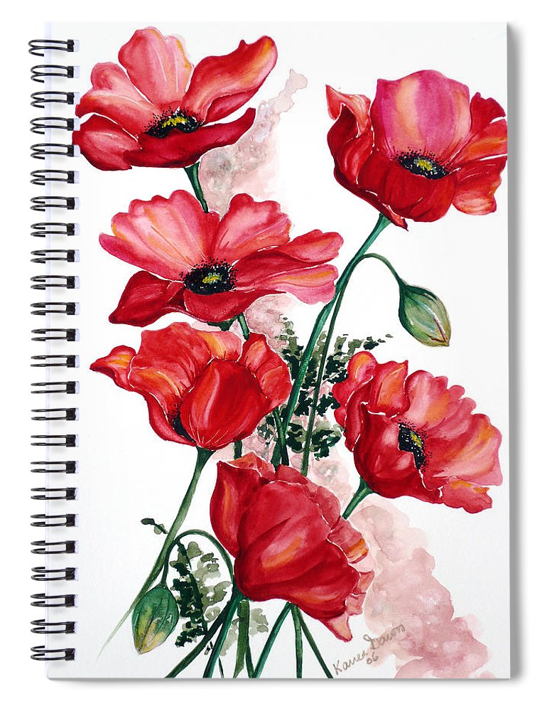 Original Watercolor Of English Field Poppies Painted On Arches Watercolor Paper Spiral Notebook featuring the painting English Field Poppies. by Karin Dawn Kelshall- Best