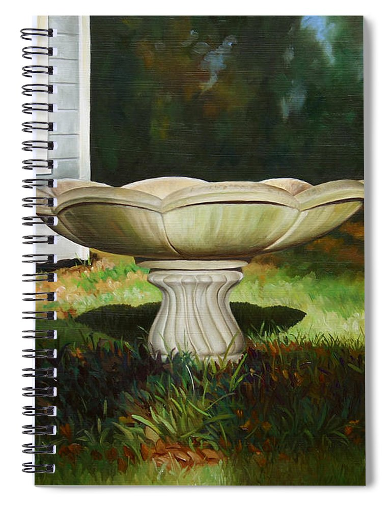 Concrete Fountain Spiral Notebook featuring the painting Fall Afternoon by Gary Hernandez