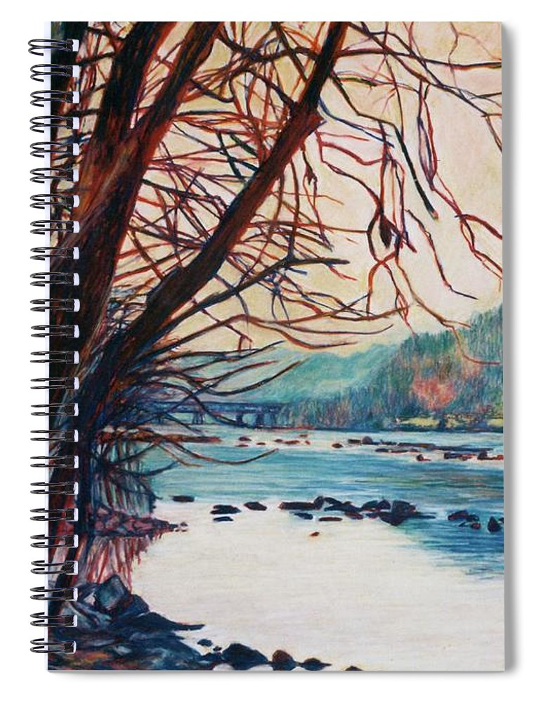 New River Spiral Notebook featuring the pastel Fall on the New River by Kendall Kessler