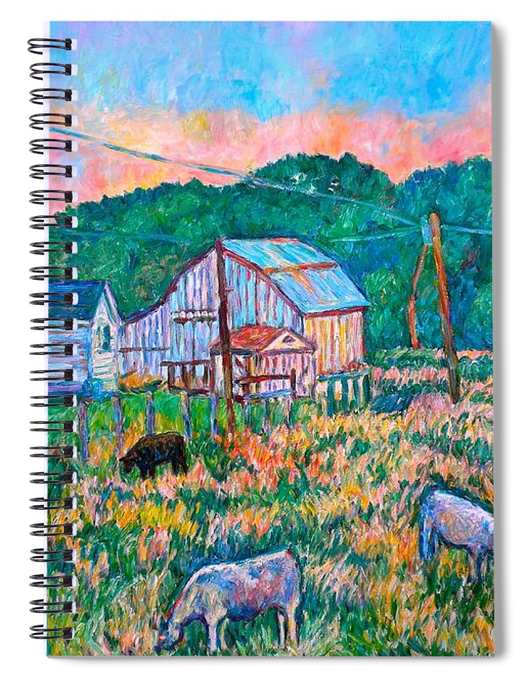 Landscape Spiral Notebook featuring the painting Farm Near Fancy Gap by Kendall Kessler