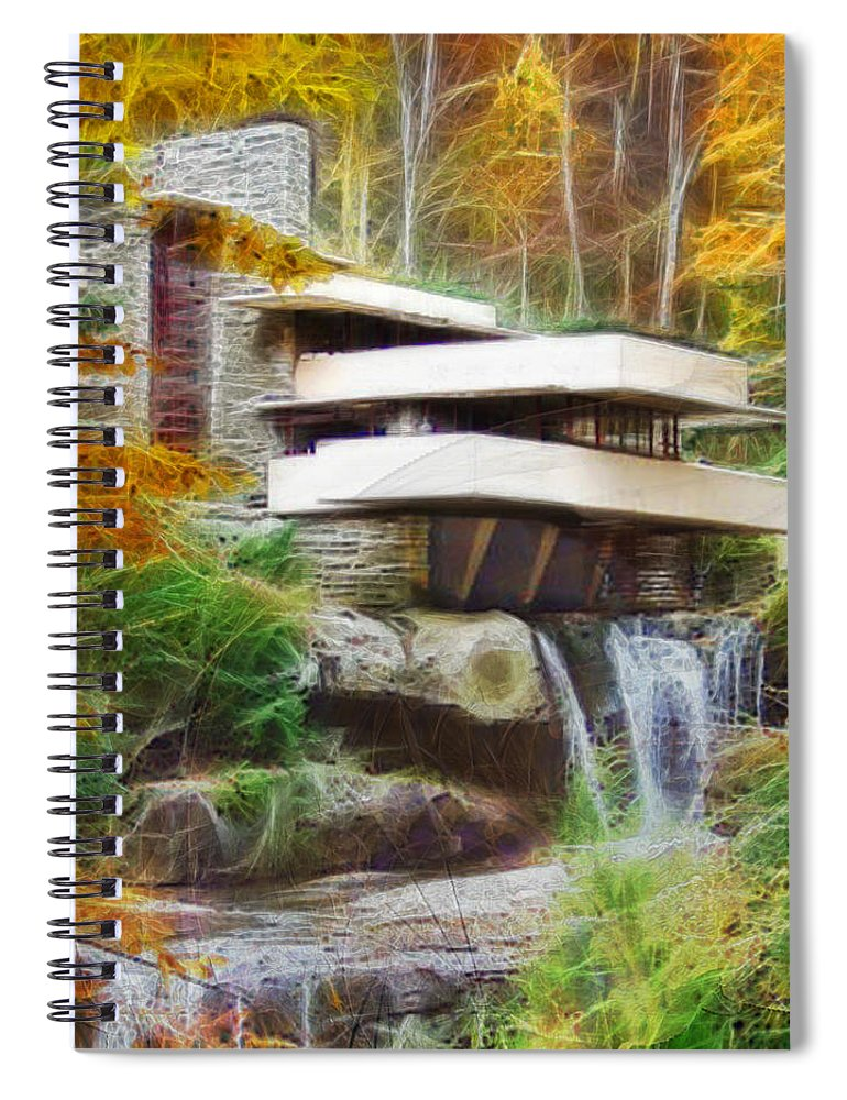 Frank Lloyd Wright Spiral Notebook featuring the digital art Fixer Upper - Square Version - Frank Lloyd Wright's Fallingwater by Studio B Prints