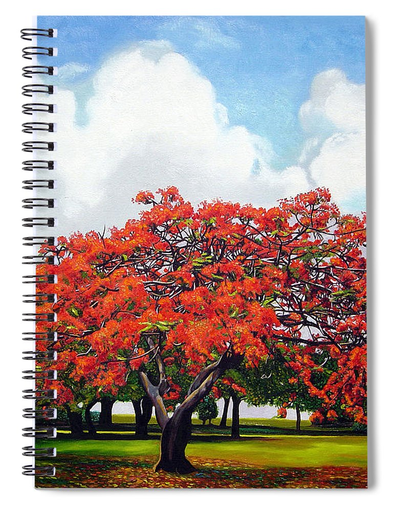 Cuban Art Spiral Notebook featuring the painting Flamboyan by Jose Manuel Abraham