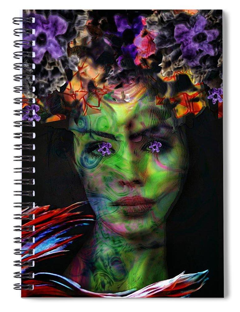 Surrealism Spiral Notebook featuring the digital art Flower eyes girl by Gunilla Munro Gyllenspetz