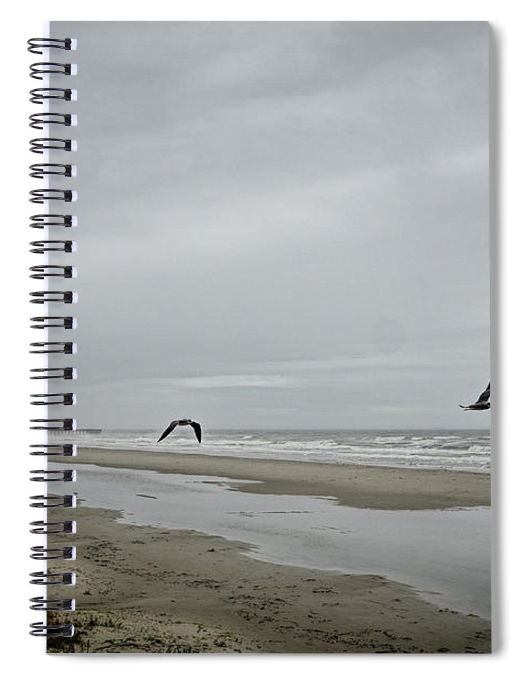 Gulf Shore Spiral Notebook featuring the photograph Foggy Beach by Linda Lee Hall