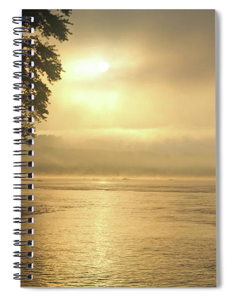 Nature Spiral Notebook featuring the photograph Foggy River Sunrise by Holly Morris