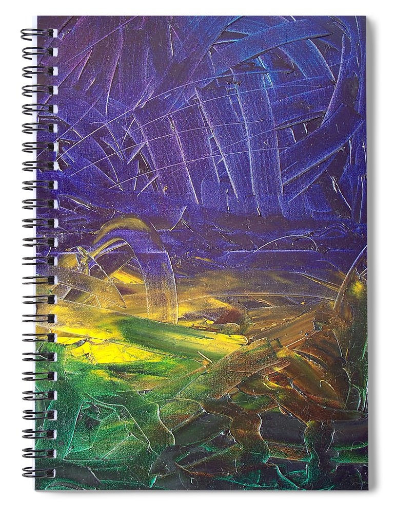 Painting Spiral Notebook featuring the painting Forest. Part2 by Sergey Bezhinets