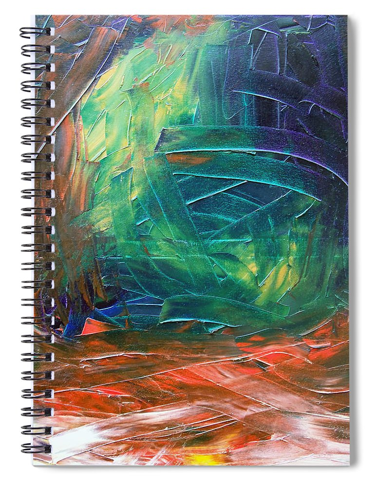 Painting Spiral Notebook featuring the painting Forest.Part3 by Sergey Bezhinets