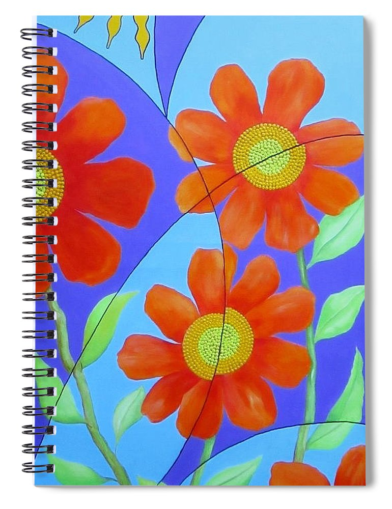 Fractal Spiral Notebook featuring the painting Fractal Floral Summer by Carol Sabo
