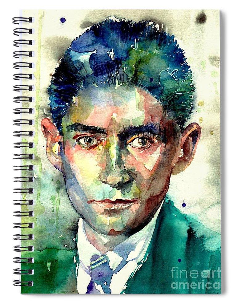 Franz Kafka Spiral Notebook featuring the painting Franz Kafka Portrait by Suzann Sines