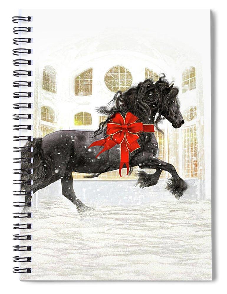 Friesian Spiral Notebook featuring the digital art Friesian Christmas by Fran J Scott