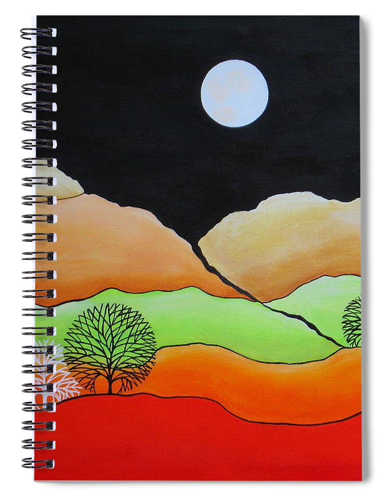 Full Moon Spiral Notebook featuring the painting Full Moon by Carol Sabo