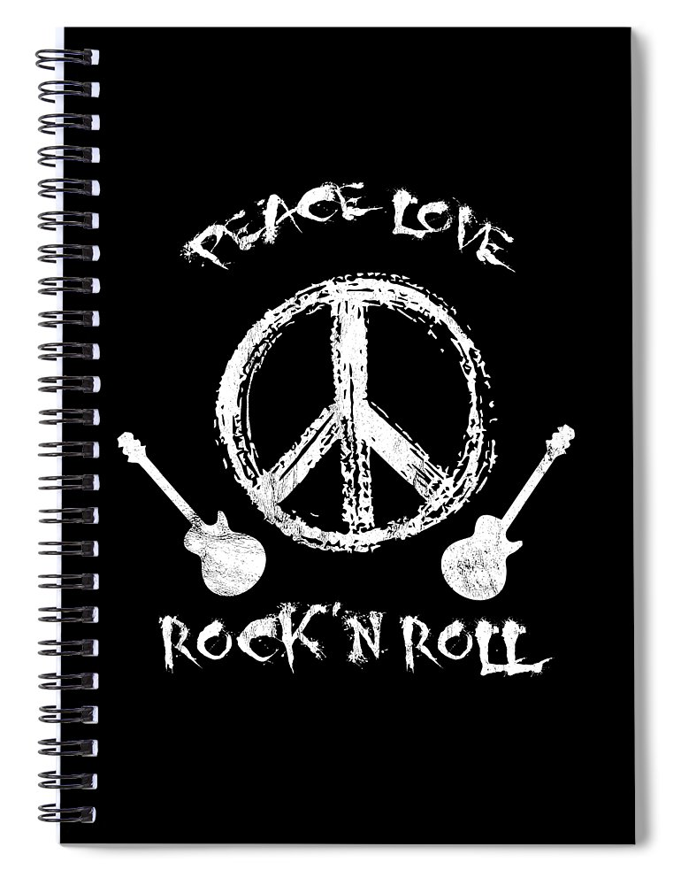 Perform Spiral Notebook featuring the drawing Funny RockN Roll Peace Love And Rock And Roll Tee by Noirty Designs