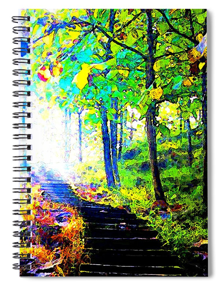 Landscape Spiral Notebook featuring the digital art Garden Stairway Abstract by Linda Mears