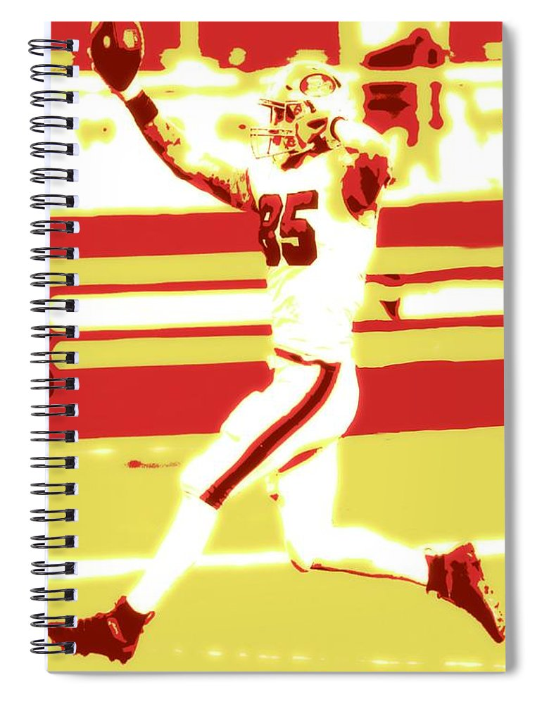 George Kittle Spiral Notebook featuring the painting George Kittle 2020 by Jack Bunds