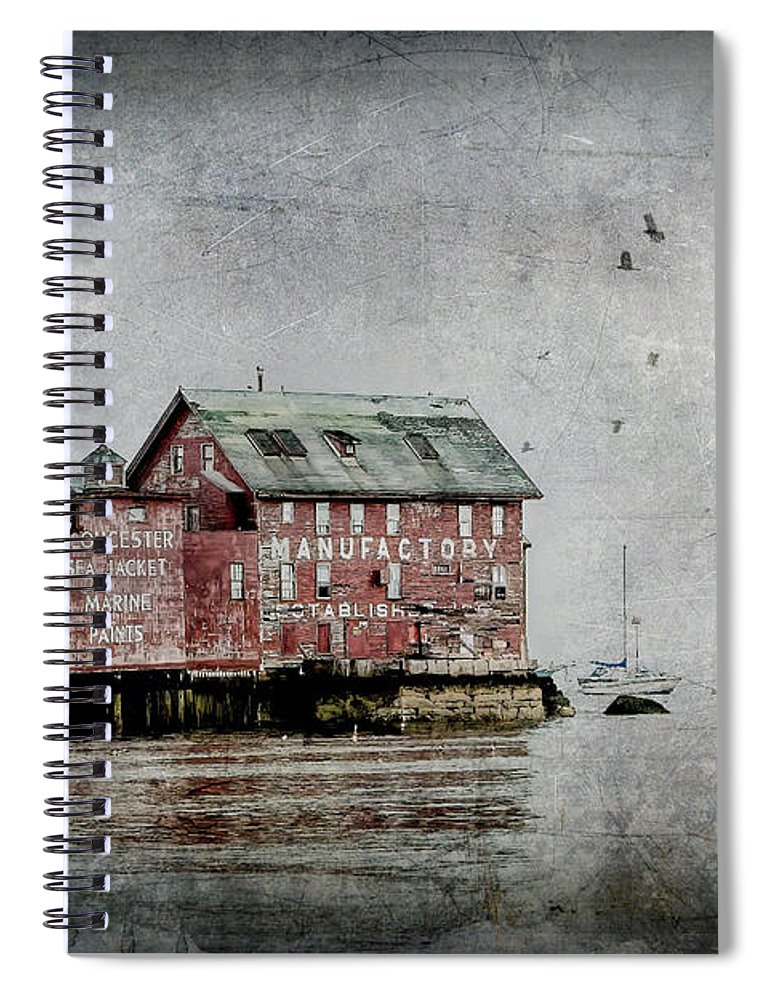 Gloucester Spiral Notebook featuring the digital art Gloucester Manufactory by Linda Lee Hall