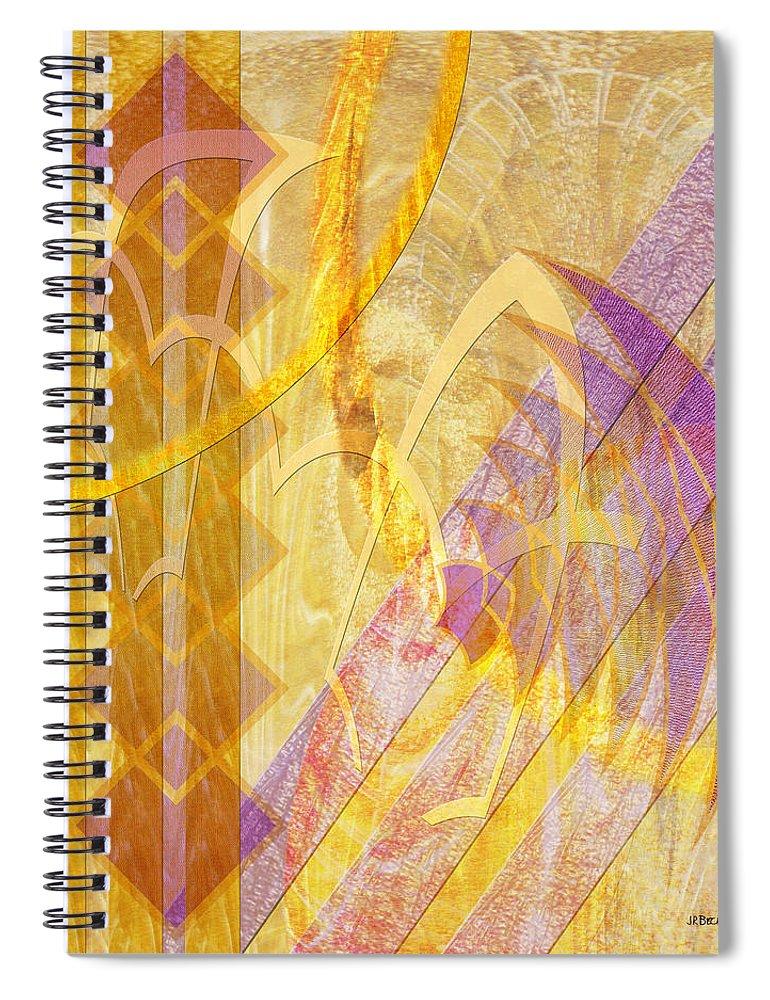 Gold Fusion Spiral Notebook featuring the digital art Gold Fusion by John Robert Beck