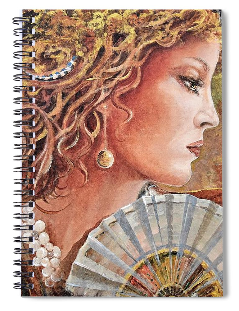 Female Portrait Spiral Notebook featuring the painting Golden Wood by Sinisa Saratlic