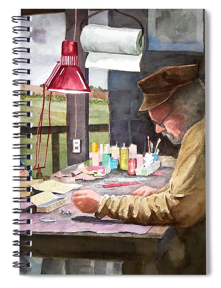 Man Spiral Notebook featuring the painting Grandpa's Workbench by Sam Sidders