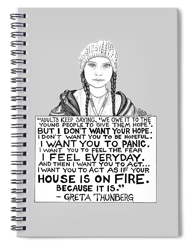 Pen And Ink Spiral Notebook featuring the drawing Greta Thunberg Drawing by Rick Frausto