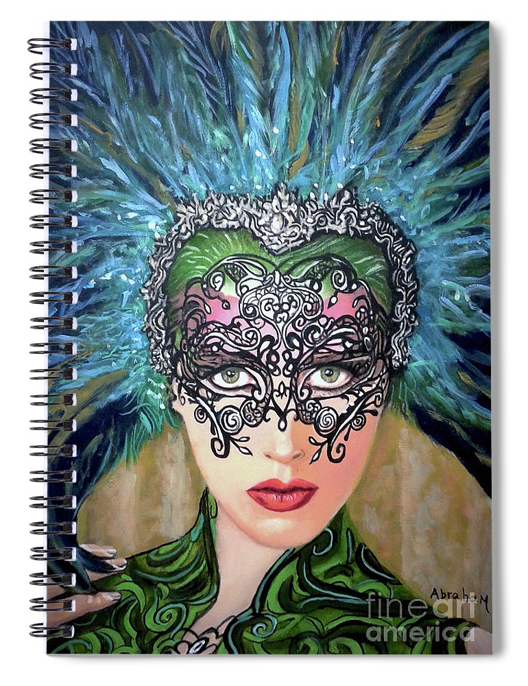 Party Spiral Notebook featuring the painting Guess by Jose Manuel Abraham