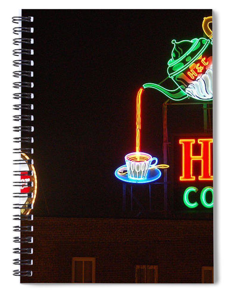 H C Coffee Spiral Notebook featuring the photograph H and C Coffee Sign Roanoke Virginia by Suzanne Gaff