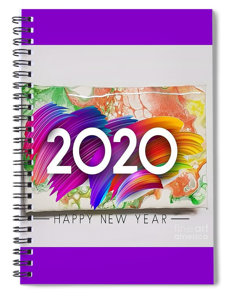 Happynewyear Spiral Notebook featuring the mixed media Happy New Year by Paola Baroni